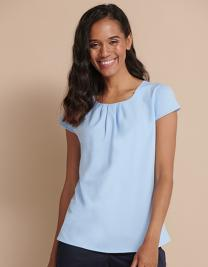 Ladies` Pleat Front Short Sleeve Blouse